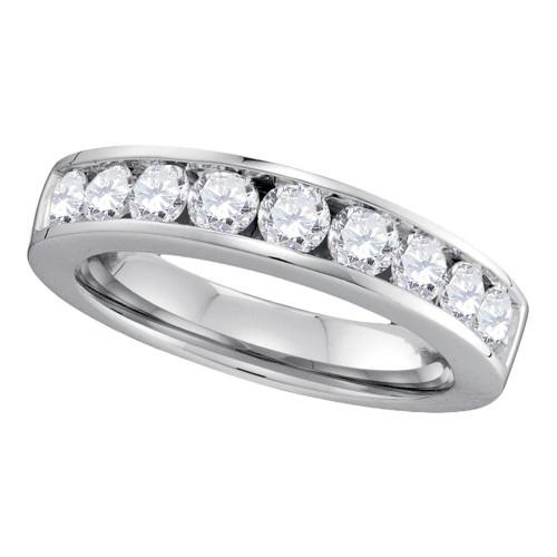 14kt White Gold Womens Round Channel-set Diamond Single Row Wedding Band 1.00 Cttw - Size 6