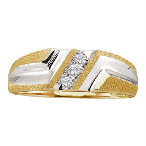 10kt Yellow Gold Mens Round Diamond Wedding Band Ring 1/10 Cttw - 18448-10.5