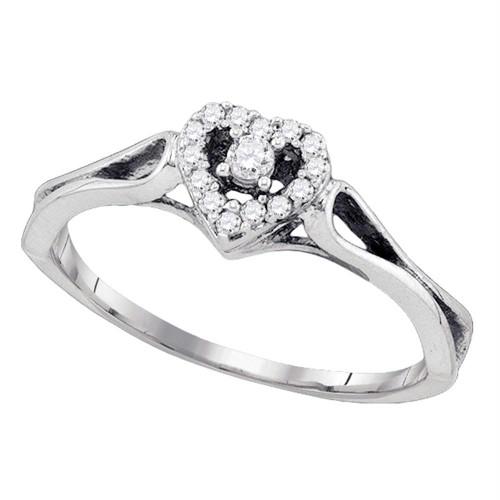 10kt White Gold Womens Round Diamond Heart Love Promise Bridal Ring 1/10 Cttw