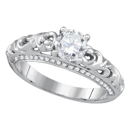 14kt White Gold Womens Round Diamond Solitaire Bridal Wedding Engagement Ring 1.00 Cttw - 86867-10.5