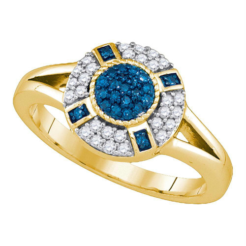 10kt Yellow Gold Womens Round Blue Color Enhanced Diamond Circle Cluster Ring 3/8 Cttw