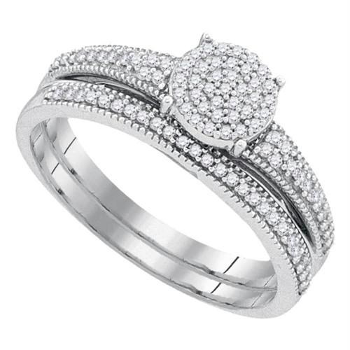 10k White Gold Womens Diamond Cluster Bridal Wedding Engagement Ring Band Set 1/4 Cttw