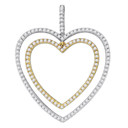 10k White Gold Round Diamond Womens 2-tone Double Heart Pendant 1/2 Cttw