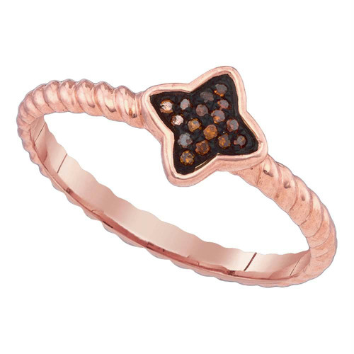 10k Pink Rose Gold Red Color Enhanced Diamond Cluster Womens Unique Small Ring 1/20 Cttw