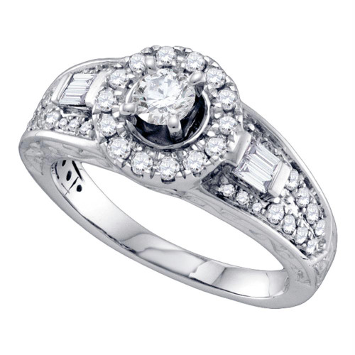 14kt White Gold Womens Round Diamond Solitaire Bridal Wedding Engagement Ring 1.00 Cttw - 70211-6.5