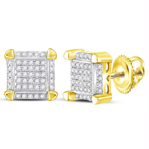 10kt Yellow Gold Mens Round Diamond Square Cluster Stud Earrings 1/6 Cttw