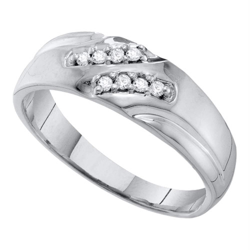 10kt White Gold Mens Round Diamond Wedding Band Ring 1/8 Cttw - 55655-8.5