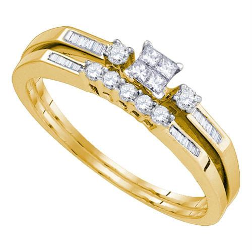10k Yellow Gold Womens Princess Diamond Slender Wedding Bridal Engagement Ring Band Set 1/3 Cttw