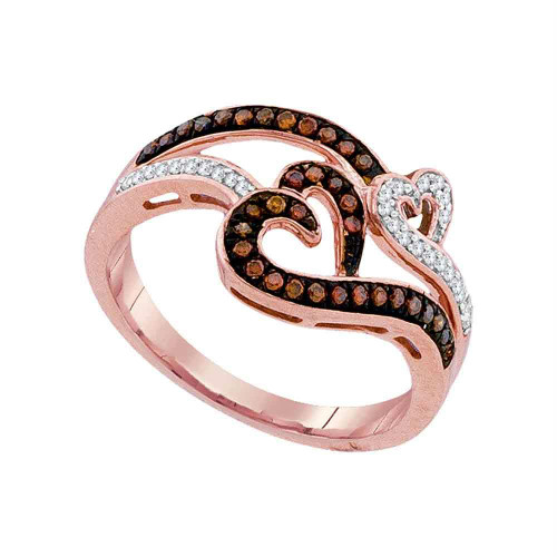 10kt Rose Gold Womens Round Red Color Enhanced Diamond Heart Love Ring 1/4 Cttw
