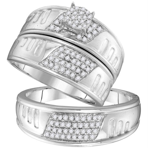 10kt White Gold His & Hers Round Diamond Cluster Matching Bridal Wedding Ring Band Set 3/8 Cttw - 104121-9.5