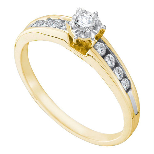 14kt Yellow Gold Womens Round Diamond Solitaire Bridal Wedding Engagement Ring 1/4 Cttw - 14326-6.5