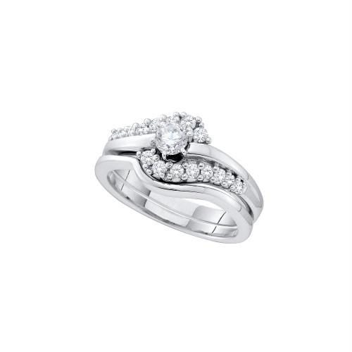 14kt White Gold Womens Round Diamond Swirl Bridal Wedding Engagement Ring Band Set 1/2 Cttw