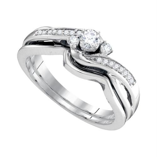 10k White Gold Womens Round Diamond Wedding Bridal Engagement Ring Band Set 1/4 Cttw