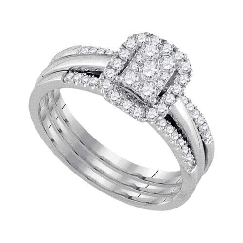 10kt White Gold Womens Diamond Cluster Bridal Wedding Engagement Ring Band Set 1/2 Cttw - 107575-5