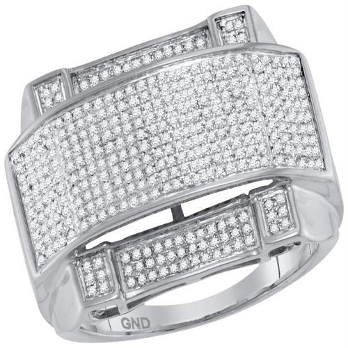 10kt White Gold Mens Round Diamond Arched Rectangle Cluster Ring 5/8 Cttw