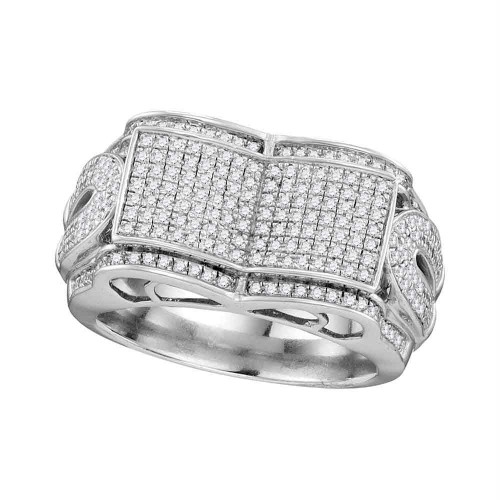 10kt White Gold Mens Round Diamond Symmetrical Concave Rectangle Cluster Ring 3/4 Cttw