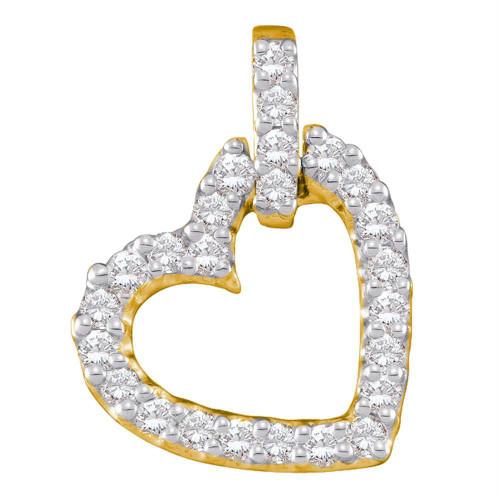 14kt Yellow Gold Womens Round Diamond Small Dangling Heart Love Pendant 1/4 Cttw