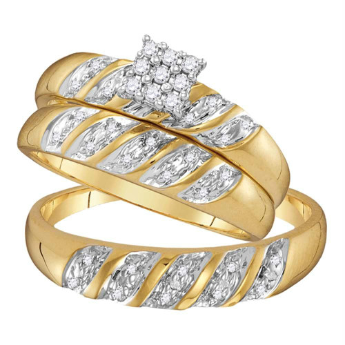 10kt Yellow Gold His & Hers Round Diamond Cluster Matching Bridal Wedding Ring Band Set 1/10 Cttw - 41104-10.5