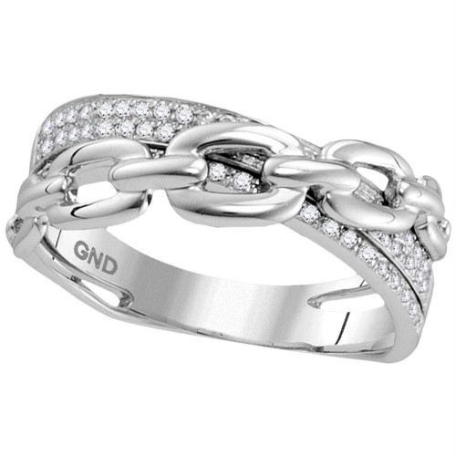 10kt White Gold Womens Round Diamond Chain Link Crossover Band Ring 1/5 Cttw