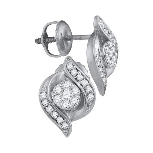 14kt White Gold Womens Round Diamond Flower Cluster Screwback Stud Earrings 1/4 Cttw - 110574