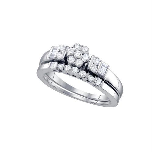 10k White Gold Round Diamond Flower Cluster Womens Wedding Bridal Ring Set 1/2 Cttw