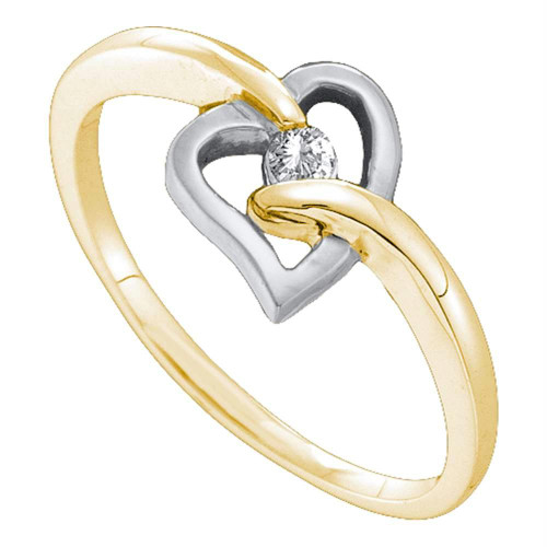 10kt Yellow Gold Womens Round Diamond Solitaire Two-tone Heart Ring 1/20 Cttw