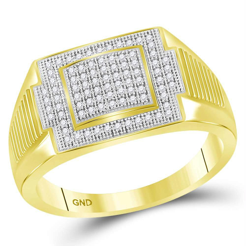 10kt Yellow Gold Mens Round Diamond Rectangle Cluster Ring 1/4 Cttw