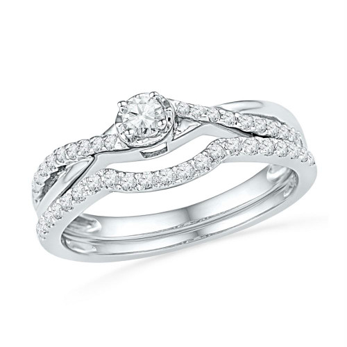 10k White Gold Womens Round Diamond Bridal Wedding Engagement Ring Band Set 1/3 Cttw