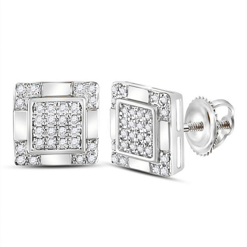 10kt White Gold Mens Round Diamond Square Cluster Stud Earrings 1/6 Cttw - 120029