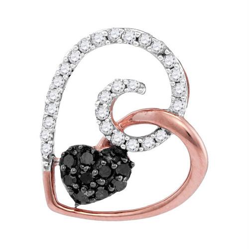 10kt Rose Gold Womens Round Black Color Enhanced Diamond Heart Love Pendant 1/4 Cttw