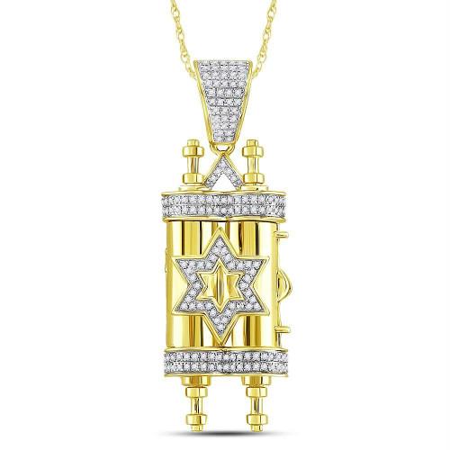 10kt Yellow Gold Mens Round Diamond Torah Magen David Scroll Charm Pendant 3/8 Cttw