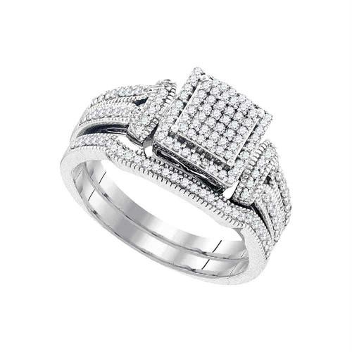 10kt White Gold Womens Diamond Cluster Bridal Wedding Engagement Ring Band Set 3/8 Cttw - 93276-6
