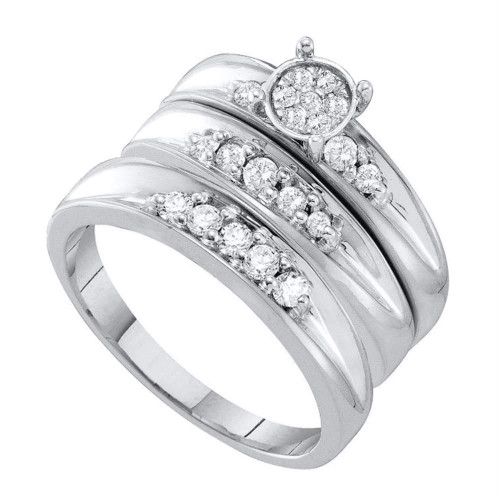 10kt White Gold His & Hers Round Diamond Cluster Matching Bridal Wedding Ring Band Set 3/8 Cttw - 56489-9