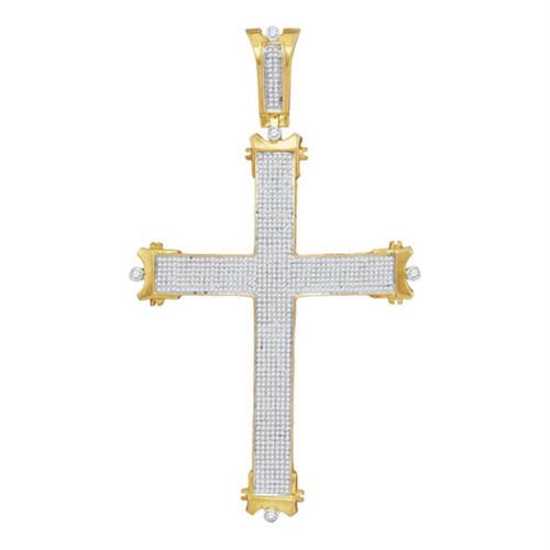 10kt Yellow Gold Mens Round Diamond Roman Cross Charm Pendant 1-3/4 Cttw