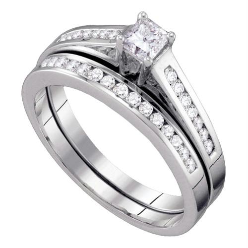 10kt White Gold Womens Princess Diamond Bridal Wedding Engagement Ring Band Set 1/2 Cttw - 63923-10.5
