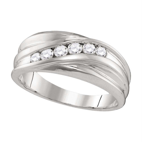 10kt White Gold Mens Round Diamond Wedding Band Ring 1/3 Cttw - 107435-8