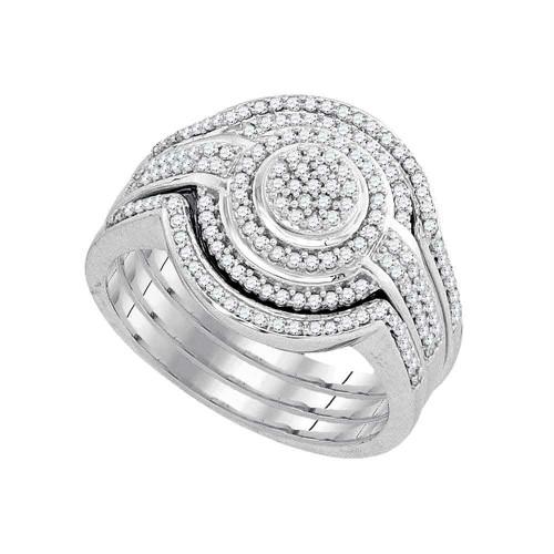 10k White Gold Womens Round Diamond Cluster Bridal Wedding Engagement Ring band Set 1/2 Cttw - 93231-9