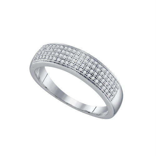 10kt White Gold Mens Round Pave-set Diamond Wedding Band Ring 1/4 Cttw