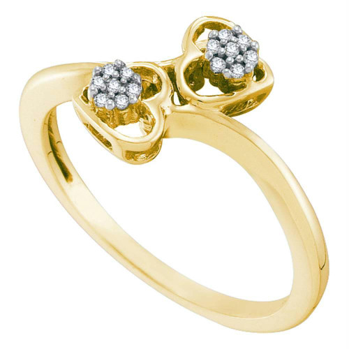 10kt Yellow Gold Womens Round Diamond Slender Double Heart Bypass Ring 1/20 Cttw