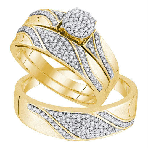 10kt Yellow Gold His & Hers Round Diamond Cluster Matching Bridal Wedding Ring Band Set 1/2 Cttw - 91843-5.5