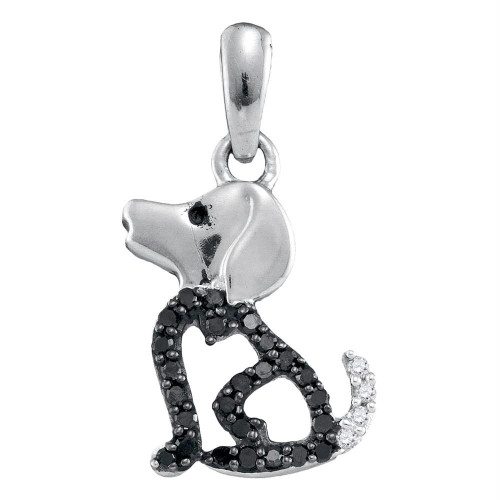 10k White Gold Black Color Enhanced Diamond Womens Puppy Doggy Dog Canine Pendant 1/8 Cttw