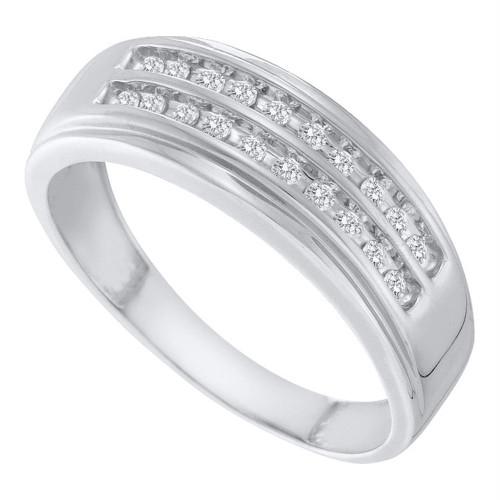 14kt White Gold Mens Round Diamond 2-row Wedding Anniversary Band Ring 1/4 Cttw