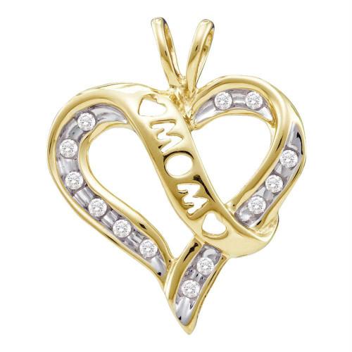 10k Yellow Gold Round Diamond Mom Mothers Heart Love Pendant 1/8 Cttw
