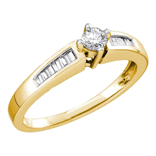 14kt Yellow Gold Womens Round Diamond Solitaire Bridal Wedding Engagement Ring 1/4 Cttw - 45101-11