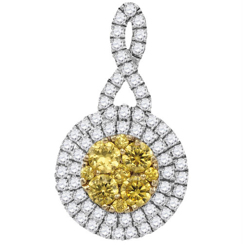 14kt White Gold Womens Round Yellow Diamond Concentric Circle Frame Cluster Pendant 1.00 Cttw