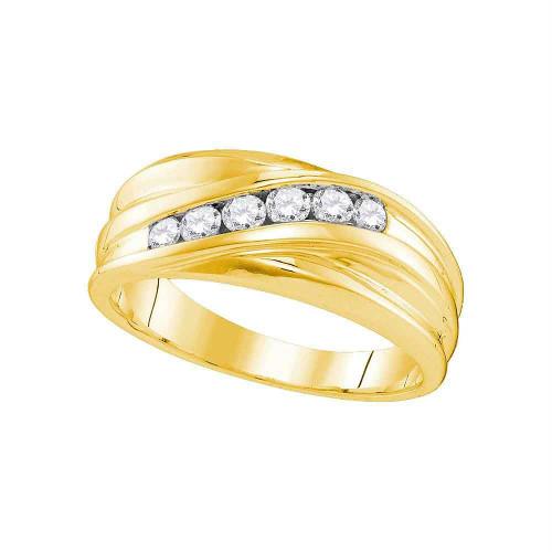 10kt Yellow Gold Mens Round Diamond Wedding Band Ring 1/3 Cttw - 107434-8