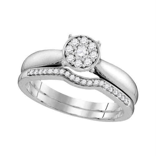10kt White Gold Womens Round Diamond Bridal Wedding Engagement Ring Band Set 1/4 Cttw - 109780-11