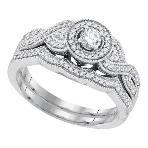 10k White Gold Womens Round Diamond Halo Woven Twist Bridal Wedding Engagement Ring Band Set 3/8 Cttw