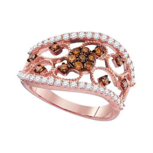 10kt Rose Gold Womens Round Cognac-brown Color Enhanced Diamond Filigree Band Ring 7/8 Cttw