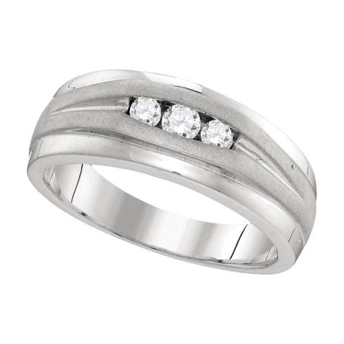 10kt White Gold Mens Round Diamond Wedding Band Ring 1/4 Cttw - 110185-8